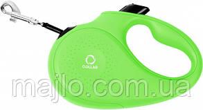 81255  Поводок-рулетка Collar М для собак до 25 кг, 5 м Салатовый, лента