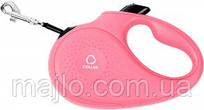 81257 Поводок-рулетка Collar М для собак до 25 кг, 5 м Розовый, лента