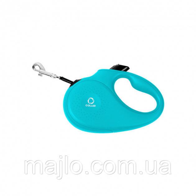 81262 Поводок-рулетка Collar L для собак до 50 кг, 5 м Блакитний, стрічка