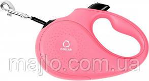 81237 Поводок-рулетка Collar ХS для собак до 12 кг, 3 м Розовый, лента