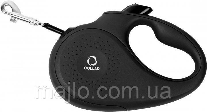 81251 Поводок-рулетка Collar М для собак до 25 кг, 5 м Чорний, стрічка