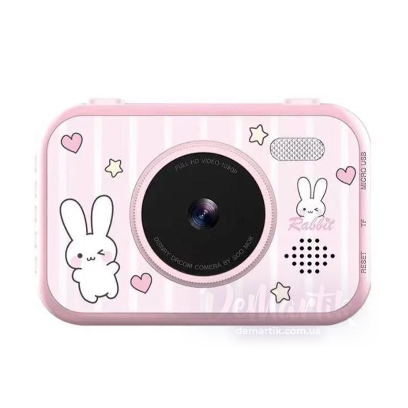 """20Мп Дитячий цифровий фотоапарат рожевий Зайчик з двома камерами з 3,5"""" екраном HD"""