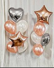 Кульки  у відтінку  рожеве золото  та срібло