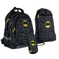 Школьный набор рюкзак + пенал + сумка Kite DC comics (DC21-700M-1)  720 г  38x28x16 см  18 л  черный, серый, фото 1