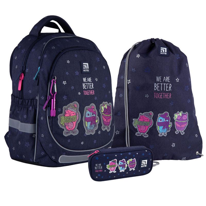 Шкільний набір ранець + пенал + сумка Kite Better together (K21-700M-2) 730 г 38x28x16 см 18 л темно-синій