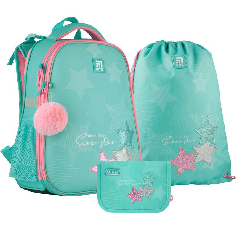 Шкільний набір ранець + пенал + сумка Kite Super star (K21-531M-4) 1000 г 38x29x16 см 16 л бірюзовий