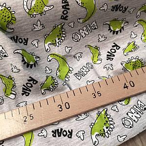 Ткань кулир 100% хлопок, принт зеленые динозаврики