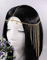Восточное богемное украшение на голову Тиара Золото Стразы №39, фото 1
