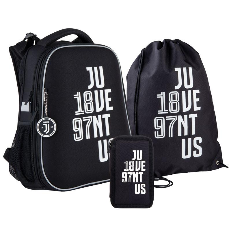 Шкільний набір ранець + пенал + сумка Kite FC Juventus (JV21-531M) 1000 г 38x29x16 см 16 л чорний