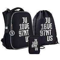Шкільний набір ранець + пенал + сумка Kite FC Juventus (JV21-531M) 1000 г 38x29x16 см 16 л чорний, фото 1