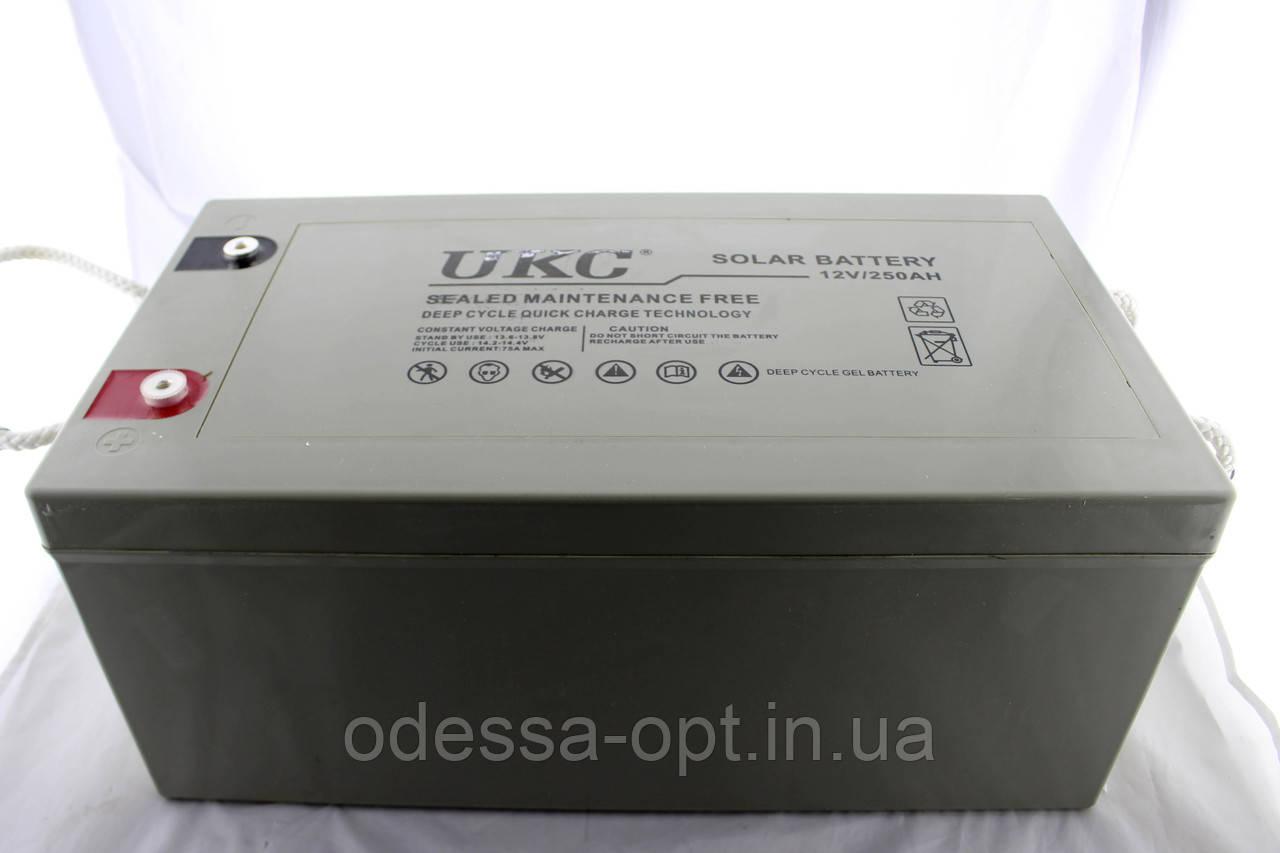 Гелієвий акумулятор АКУМУЛЯТОР 12V 250A UKC (Реальна ємність -40% = 150А)