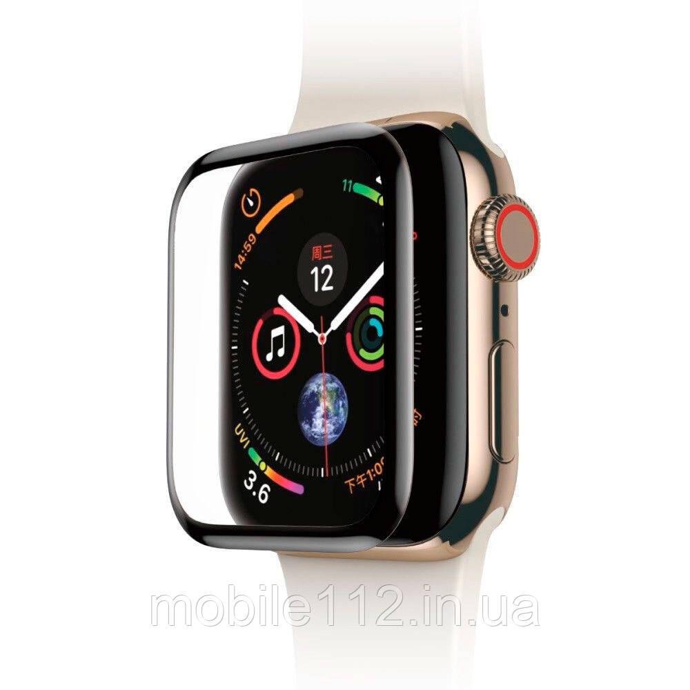 Захисне скло Apple Watch 4 44 мм чорне Polymer nano