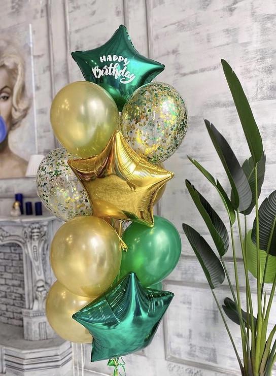 """Воздушные шары """"Зелёно-золотистый"""""""