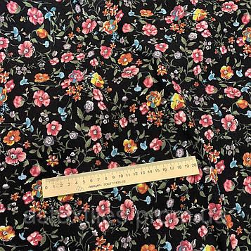 Льон-віскоза принт (квіти на чорному тлі)