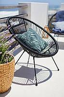 Лаунж кресло кокон садовое круглое черное