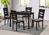 Комплект кухонной мебели Бруклин - обеденный стол + 4 стула, обеденный комплект в темных и светлых тонах