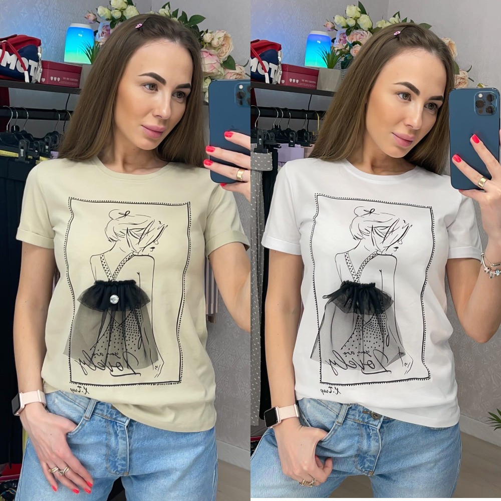 Жіноча футболка з принтом і прикрашена фатином (біла, бежева) В-4-0521