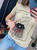 Жіноча футболка з принтом і прикрашена фатином (біла, бежева) В-4-0521, фото 5