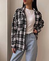 Женская стильная теплая рубашка с длинным рукавом в клетку, фото 1