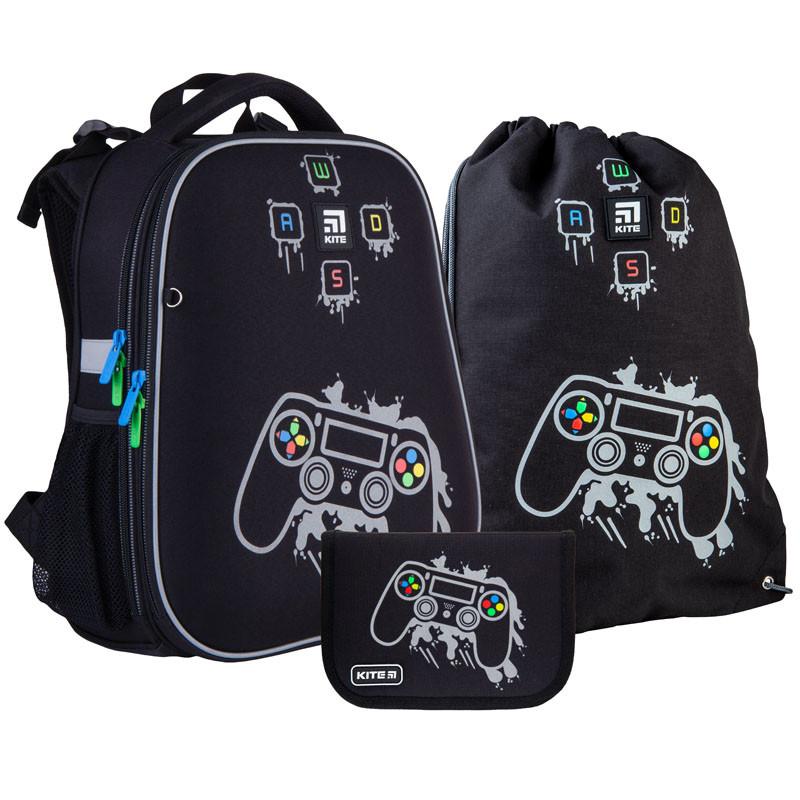 Шкільний набір ранець + пенал + сумка Kite Gamer (K21-531M-2) 1000 г 38x29x16 см 16 л чорний