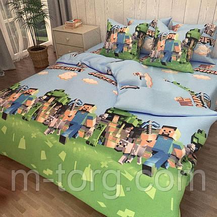 """""""майнкрафт"""" комплект постельного белья полуторный 150/220 с детским рисунком, две нав-ки 70/70,ткань сатин, фото 2"""