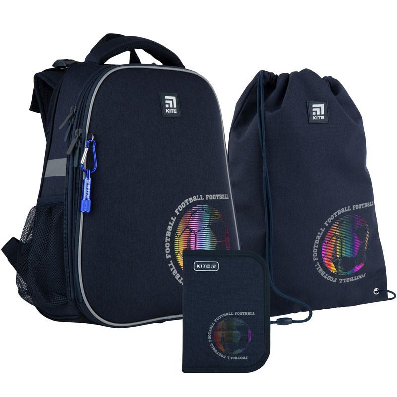 Школьный набор рюкзак + пенал + сумка Kite Football (K21-531M-6)  1000 г  38x29x16 см  16 л  темно-синий