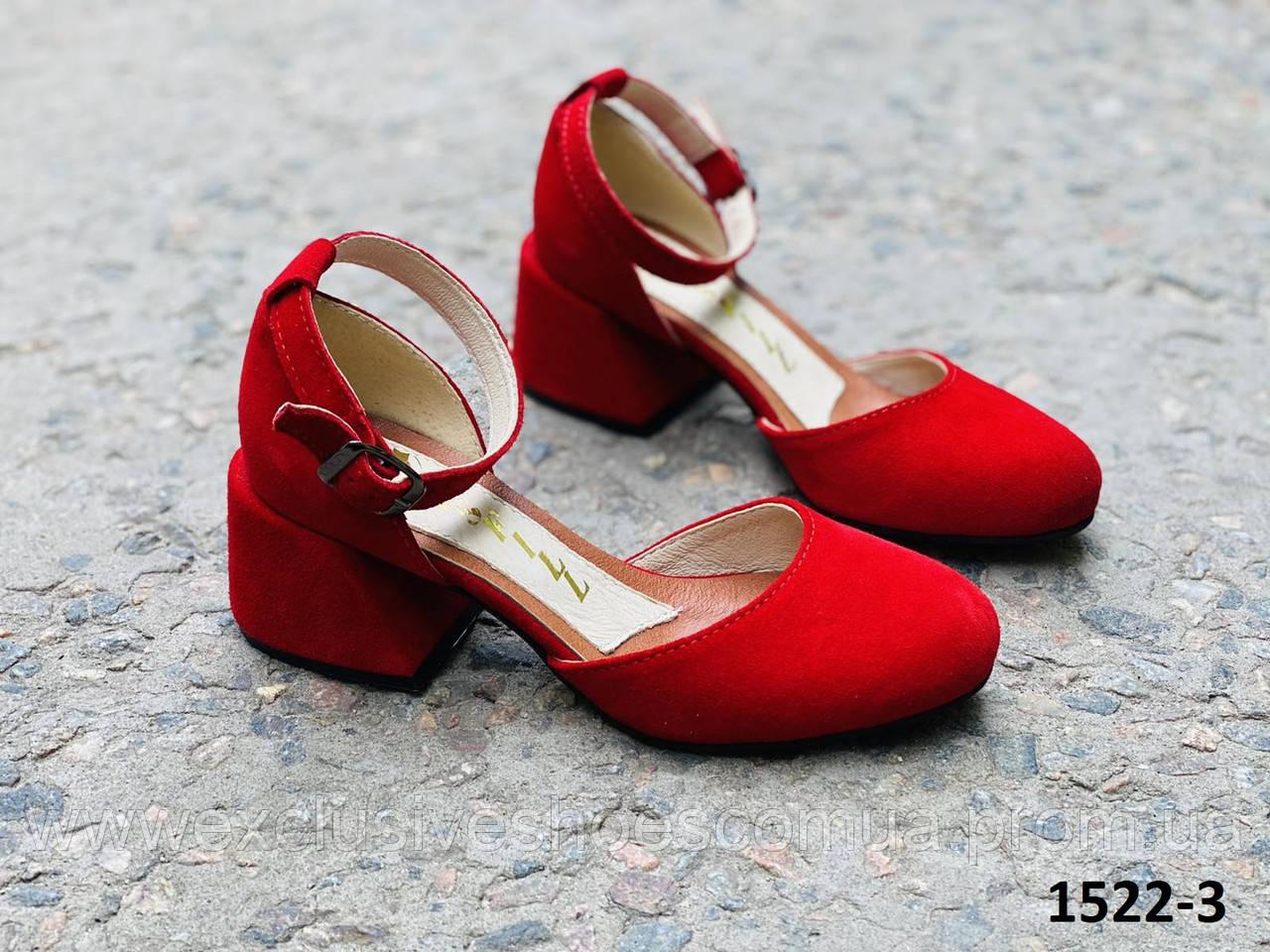 Туфли женские замшевые красные на каблуке