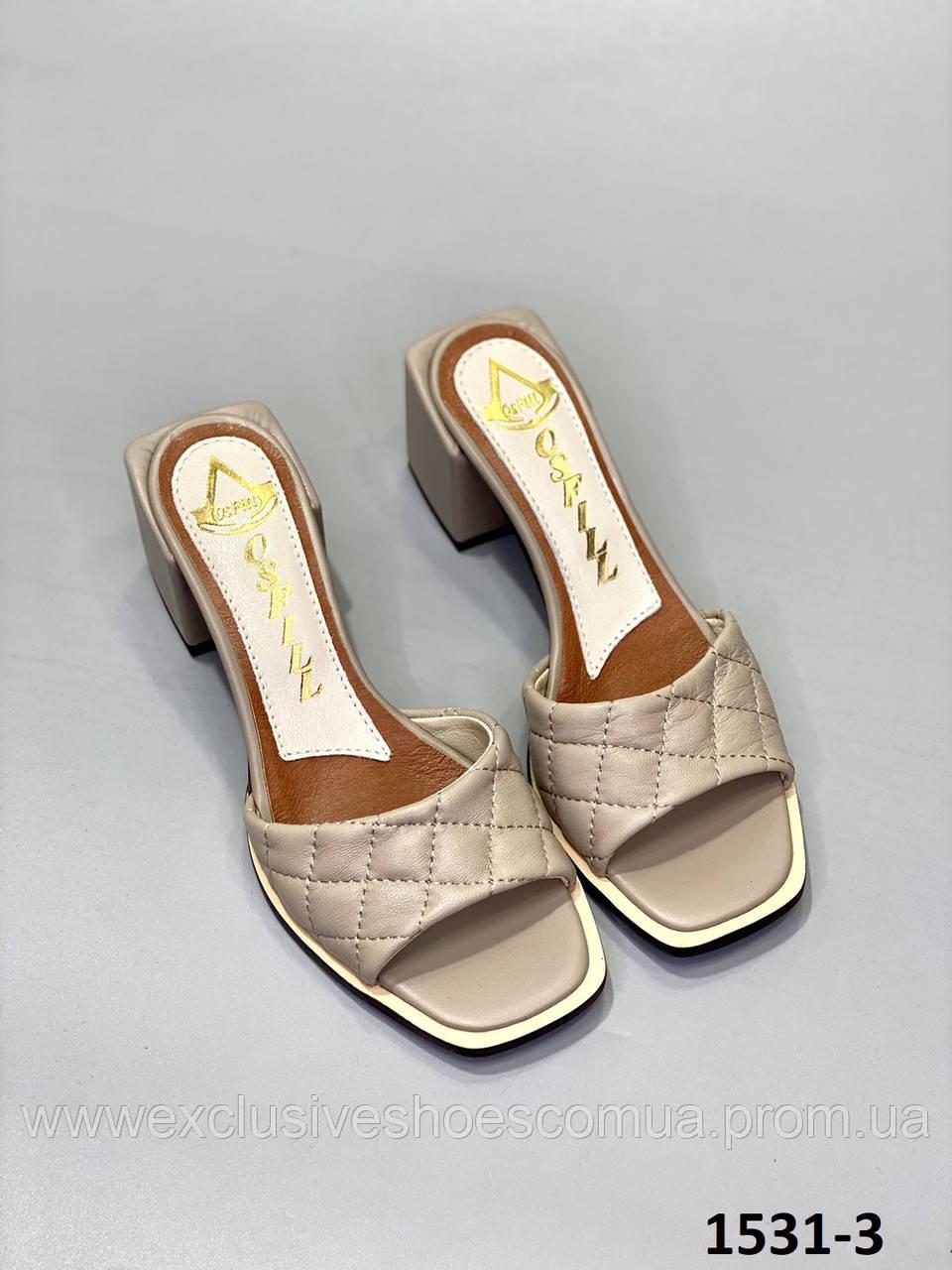 Сабо женские кожаные капучино на каблуке