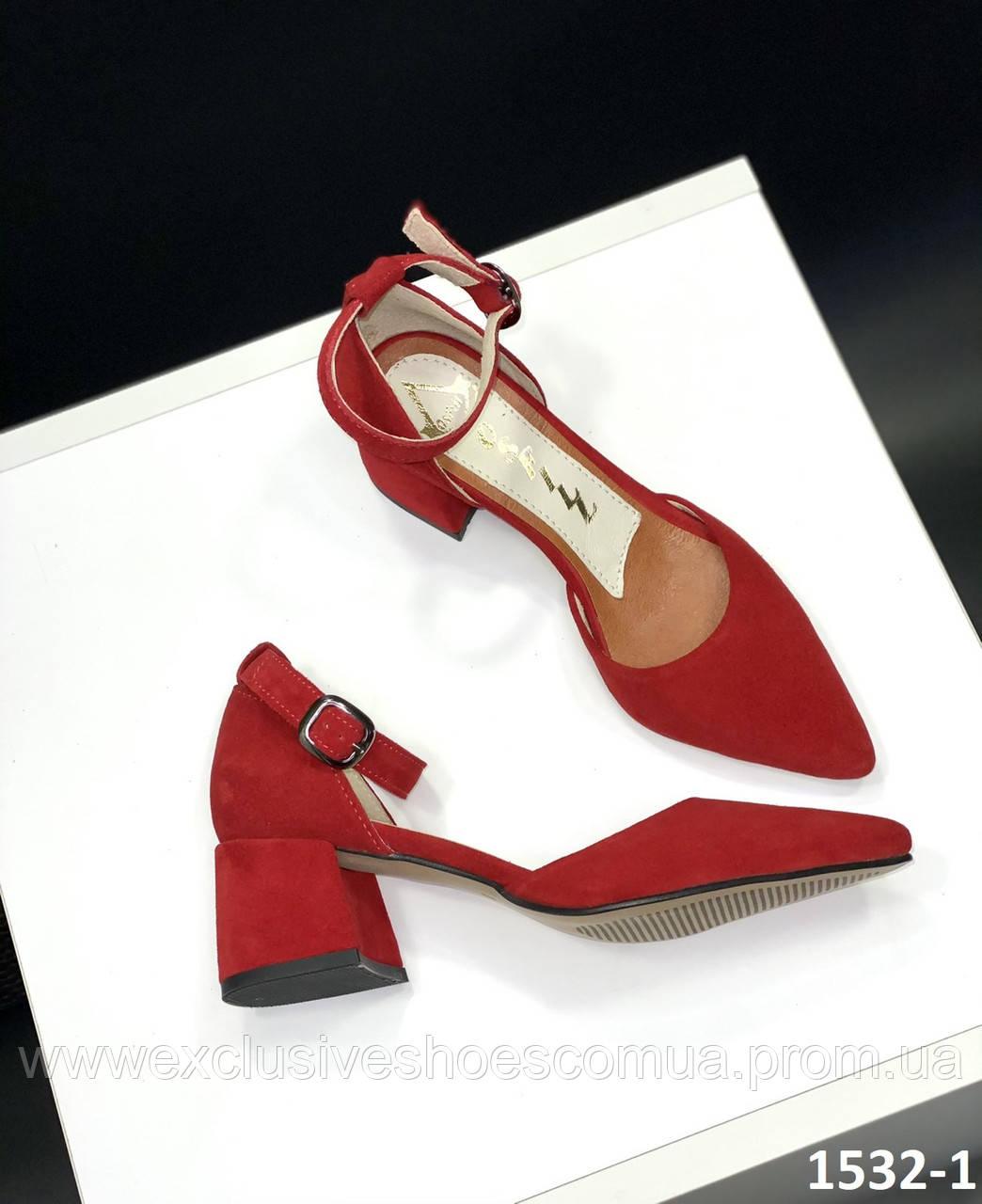 Класичні туфлі жіночі замшеві червоні на підборах