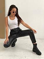 Жіночі стильні брюки з еко-шкіри на флісі, фото 1
