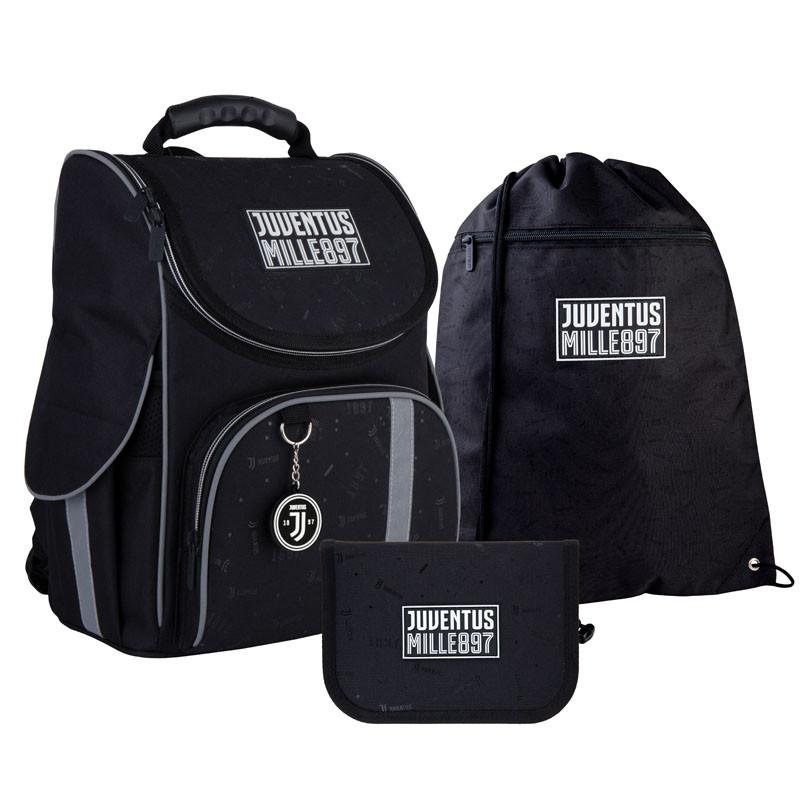 Шкільний набір ранець + пенал + сумка Kite FC Juventus (JV21-501S) 960 р 35x25x13 см 11,5 л чорний