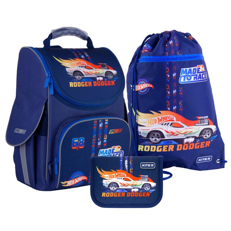 Шкільний набір ранець + пенал + сумка Kite Hot Wheels (HW21-501S) 950 г 35x25x13 см 11,5 л, темно-синій