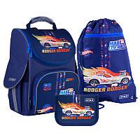 Шкільний набір ранець + пенал + сумка Kite Hot Wheels (HW21-501S) 950 г 35x25x13 см 11,5 л, темно-синій, фото 1