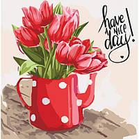 Картина по номерам Красные тюльпаны Art Craft Раскраска Рисование Цветы 40х40 см (32019)