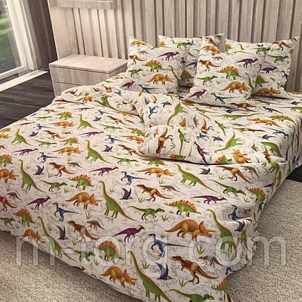 """""""динозаври"""" комплект постільної білизни полуторний 150/220 з дитячим малюнком, дві нав-ки 70/70,тканина сатин, фото 2"""
