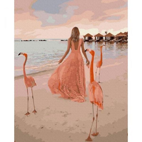 Картина за номерами Дівчина з фламінго на пляжі в Домінікані Rainbow Art Розфарбування Розпис 40 х 50 см (58088)
