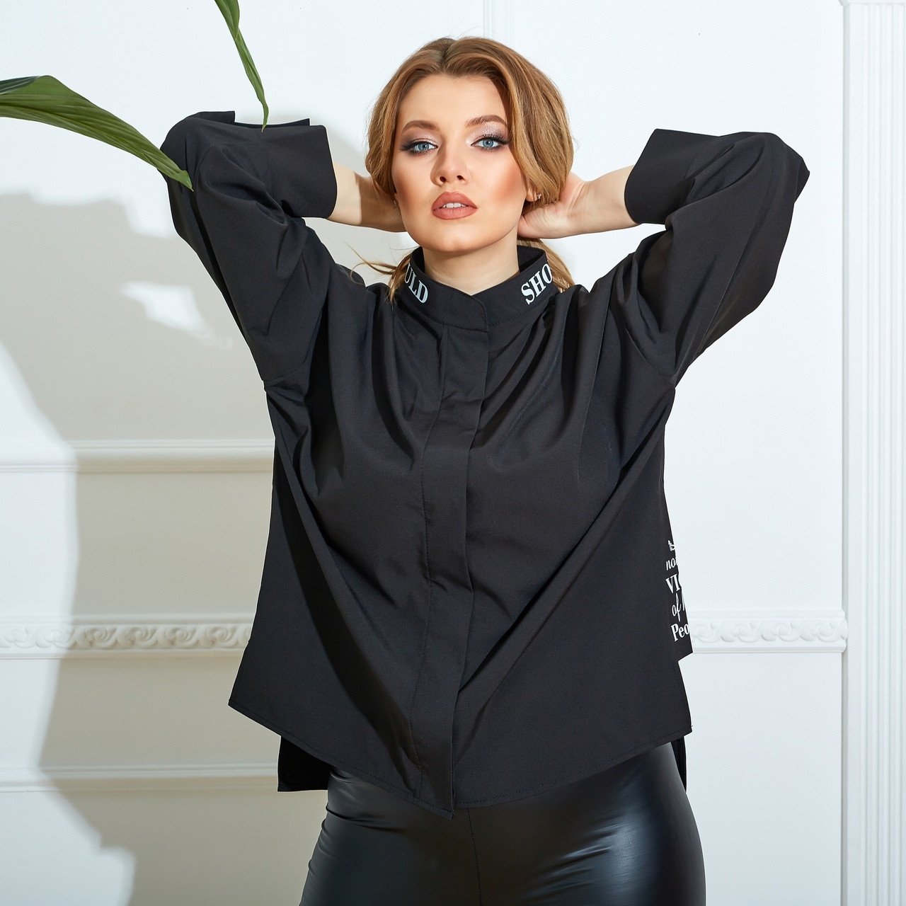 Жіноча сорочка, софт, р-р 48-50; 52-54; 56-58; 60-62 (чорний)