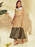 Расклешенное длинное платье бежевое  ЛЕТО, фото 4
