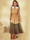 Расклешенное длинное платье бежевое  ЛЕТО, фото 2