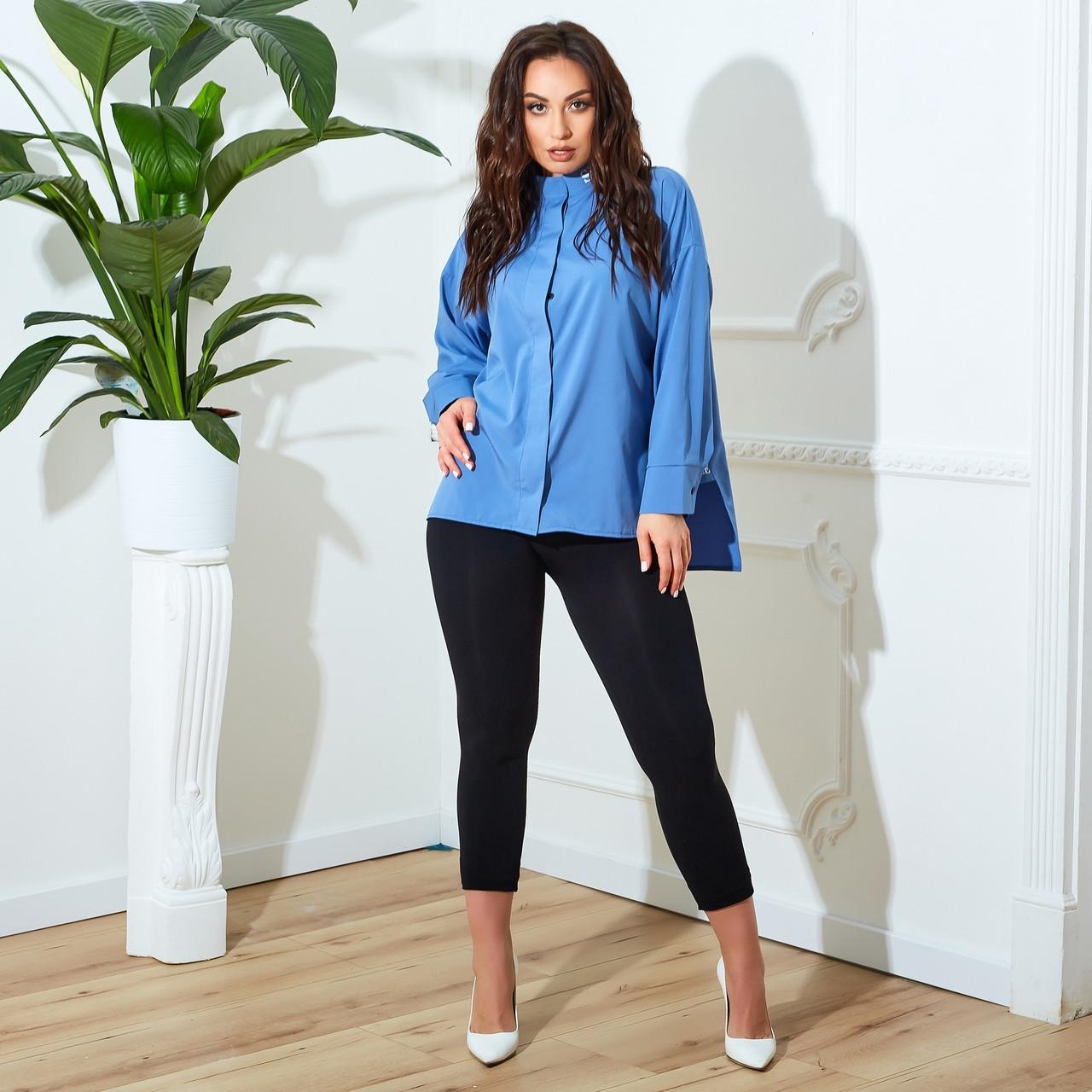 Женская рубашка, софт, р-р 48-50; 52-54; 56-58; 60-62 (джинс)