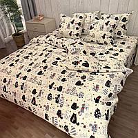 """""""коти"""" полуторний комплект постільної білизни 150/220 з дитячим малюнком, дві нав-ки 70/70,тканина сатин"""
