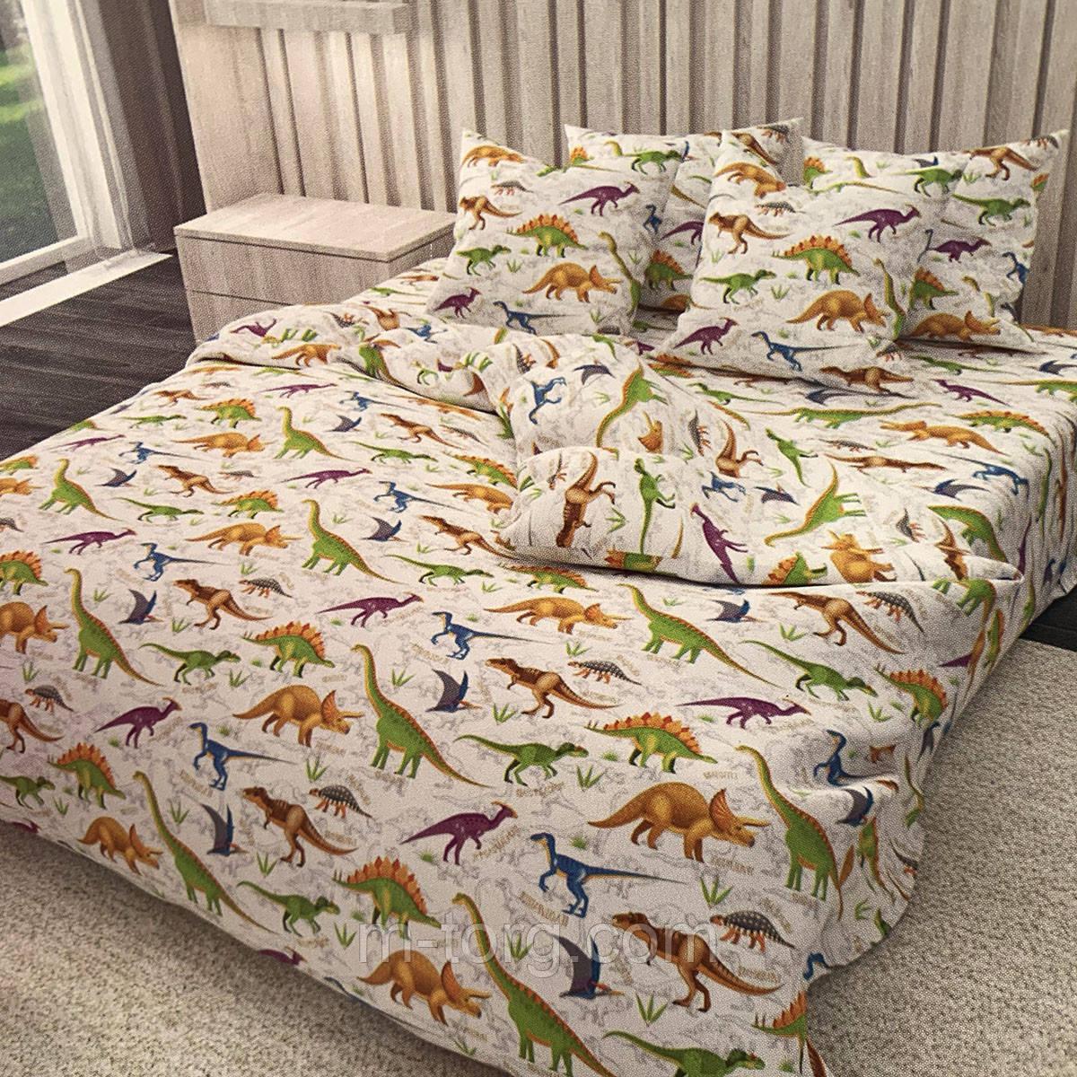 """""""динозавры"""" полуторный комплект постельного белья 150/220 с детским рисунком, две нав-ки 70/70,ткань сатин"""