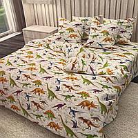 """""""динозаври"""" полуторний комплект постільної білизни 150/220 з дитячим малюнком, дві нав-ки 70/70,тканина сатин"""