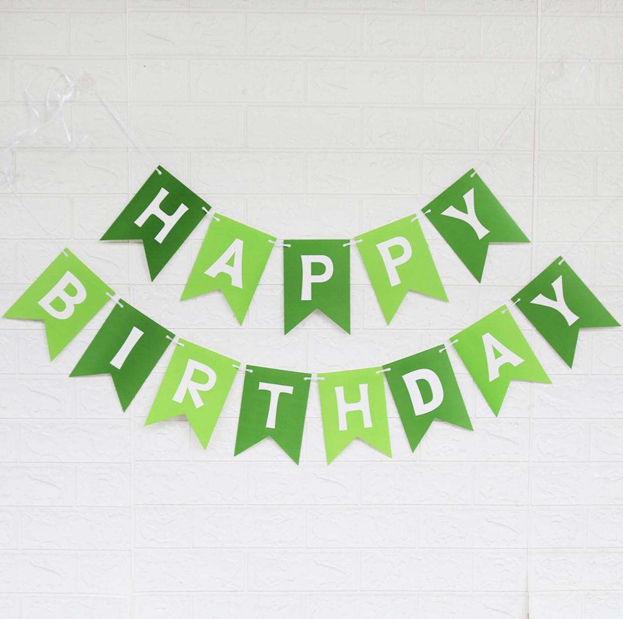 """Гирлянда """"Happy Birthday"""" Зелёная двухцветная.Размер 3м."""