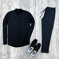 Мужской комплект черная рубашка + брюки