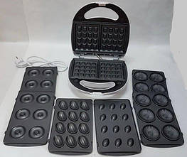 Апарат для приготування вафель та пончиків DSP KC1131 зі змінними пластинами і антиприграным покриттям