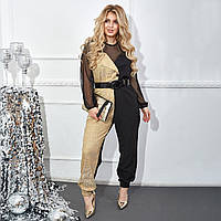 Женский комбинезон блестящий креп костюмка+трикотаж с поясом размер: 46-48,50-52,54-56,58-60