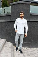Мужской комплект рубашка+брюки белый с серым