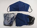 Многоразовые маски ПИТТА 100% КОТТОН! Трикотажные черные, синие, красные принты с логотипом Украина, фото 3