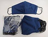 Многоразовые маски ПИТТА 100% КОТТОН! Трикотажные черные, синие, красные принты с логотипом Украина, фото 2
